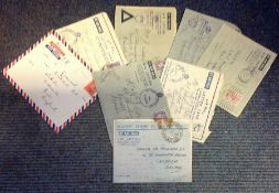 George VI post collection 9 vintage Forces Air Mail addressed envelopes includes interesting