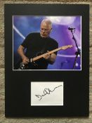 Dave Gilmour Pink Floyd autograph mounted with 10 x 8 inch colour photo to an overall size 16 x 12