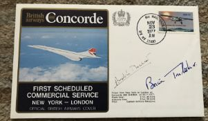 Concorde Test pilots Andre Turcat and Brian Trubshaw signed 1977 British Airways cover