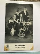 Music The Shadows band signed 6 x 4 inch Columbia records photo fixed to A4 page