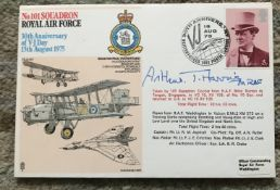WW2 Arthur Bomber Harris bomber command leader and Great War pilot signed 30th ann VJ Day cover