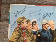 Dads Army multiple signed 1976 annual. Inside page has 5 autographs inc Arthur Lowe with note.