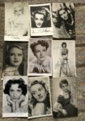 TV/Film signed collection, nine 6 x 4 inch b/w photos, including Marlene Dietrich, Ginger Rogers