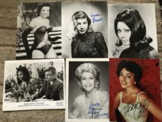 TV/Film collection. Six signed 10 x 8 inch photos including Lauren Bacall, Sophia Loren
