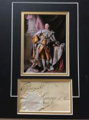 King George III signed presentation. 7 X 5 inch photo professionally double mounted above a large
