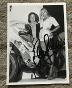 Barry Sheen Motorcycle ace signed 7 x 5 inch b/w photo in casual clothes on his bike.