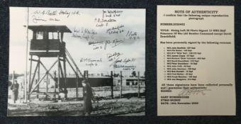 Stalag III 10x8 B/W photo signed by 13 WW2 RAF prisoners of war