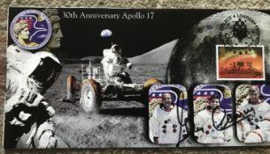 Apollo 17 moonwalker Gene Cernan signed 2002, 30th ann Apollo 17 cover. Condition 10/10. All