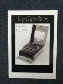 Bletchley Park Keith and Mavis Batey signed 7 x 5 inch b/w photo of the WW2 Enigma Machine.