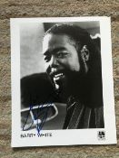 Music legend Barry White signed 10 x 8 inch AM records b/w promo photo. Comes with COA from REAL