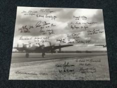 WWII 10x8 B/W Halifax photo signed by 18 bomber command veterans