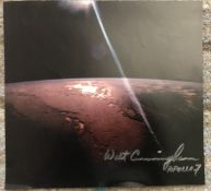 Apollo 7 Astronaut Walt Cunningham signed 12 x 12 inch colour page from space book. Stunning image