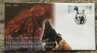 Sir Edmund Hillary signed 2003 Extreme Endeavours cover, comm 50th ann of the Ascent of Everest.