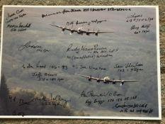 WW2 18 Bomber Command veterans multiple signed Lancaster photo