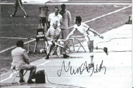 Olympics Miklos Nemeth signed 6x4 black and white photo of the Gold Medallist in the Javelin event