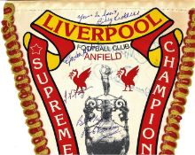 Liverpool F. C commemorative pennant Supreme Champions 12 times League Champions signed by Anfield