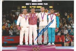 Olympics Aleksander Kazekevic signed 6x4 colour photo of the Olympic Bronze Medallist in the 74kg
