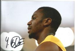 Olympics Yohan Blake signed 6x4 colour photo of the Double Gold Medallist in the Mens 4x100 relay at