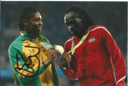 Olympics Caster Semenya signed 6x4 colour photo of the double gold medallist in the Athletics 800m