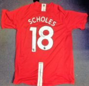 Football Paul Scholes signed Manchester United replica home shirt. Good condition Est.