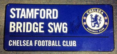 Football Timo Werner signed Stamford Bridge SW6 Chelsea Football Club Commemorative Road Sign.