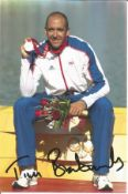 Olympics Tim Brabants signed 6x4 colour photo of the Gold and Double Bronze medallist at the 2000