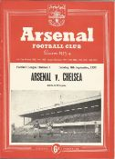 Football vintage programme Arsenal v Chelsea Football League Division One 8th Sept 1953. Team