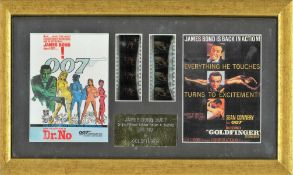 James Bond Dr No and Goldfinger movie still framed with film flyers. Good condition. All