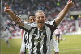 Alan Shearer signed superb 12 x 8 inch colour Newcastle goal celebration goal. Good condition. All