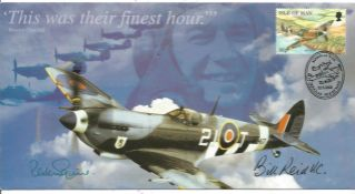 WW2 Bill Reid VC and AVM Peter Squire signed This Was Their Finest Hour Spitfire cover 2000. Good