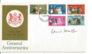 Prime Minister Edward Heath signed 1970 Anniversaries FDC. Good condition. All autographs come