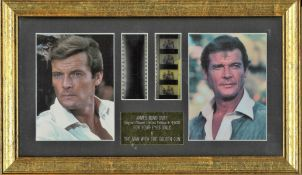 James Bond The man with the golden gun movie still framed with film flyers. Good condition. All