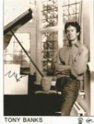 Tony Banks signed 10 x 8 inch b/w Virgin Records photo. Good condition. All autographs come with a