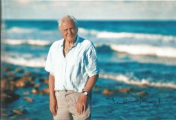 David Attenborough signed superb 12 x 8 inch colour photo beach scene with waves breaking in