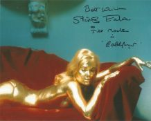 Goldfinger Shirley Eaton signed 10 x 8 inch colour photo covered in gold on bed she has added screen