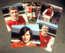 Football Arsenal Collection 5 signed photos from great Gunner names such as John Hollins, Peter
