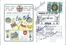 Manchester City legends signed FDC Man City v Widzew Lodz 1977 UEFA Cup signed by Colin Bell, Malcom