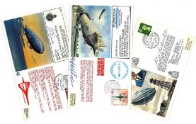 Zeppelin FDC collection includes 3 signed flown covers includes 60th Anniversary of the First