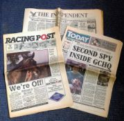 Newspaper collection. Contains Today, Racing post and The Independent. All are from the first day of