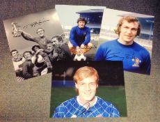 Football Chelsea collection 4 signed photos from Stamford Bridge legends Kerry Dixon, Ron Harris,