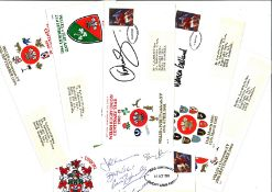 Welsh Rugby FDC collection includes 6 Centenary covers 3 signed by legends such as Warren Gatland,