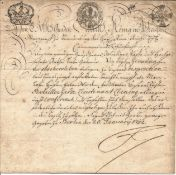 Frederick II: King of Prussia, Known as Frederick the Great signed 1752 document, approx. 13 x 8