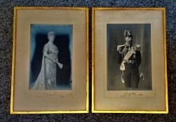 King George V and Queen Mary signed pair of vintage photos 18x12 framed and mounted both dated 1928.