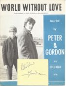 Peter & Gordon Singers Signed Album Page With Vintage World Without Love Sheet Music. Good