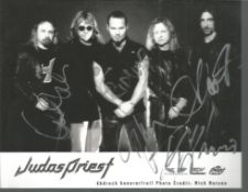 Judas Priest music band signed 7 x 5 inch b/w promo photo. Condition 8/10. Good Condition. All