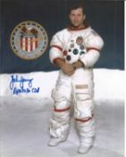 Apollo Moonwalker John Young signed rare 10 x 8 inch colour white space suit photo, slight crease