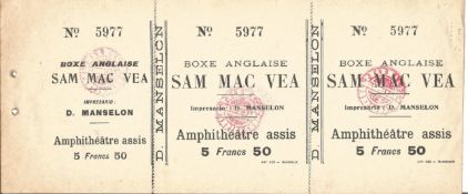 Sam Mcvea Vs Bill Harris 1909 Rare French Onsite Heavyweight Boxing Ticket. Condition 8/10. Good