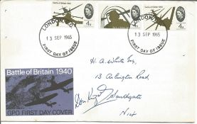 Don Kingaby rare WW2 fighter ace signed 1965 Battle of Britain FDC, hand addressed, a little scruffy