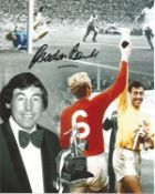 1966 World Cup football Gordon Banks signed 10 x 8 inch colour montage photo. Condition 8/10. Good