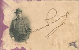 Giacomo Puccini (1858-1924), signed portrait postcard photograph. Slight staining to LH side, but